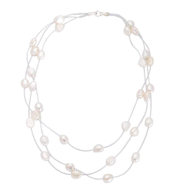 Fresh Water White Pearl 3 Strand Station Necklace (Size 18) in Sterling Silver 60.000 Ct.