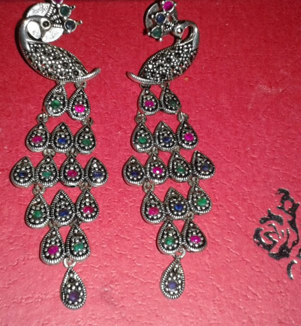Peacock sterling silver earrings with semi precious stones